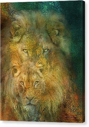 Moods Of Africa - Lions Canvas Print by Carol Cavalaris