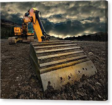 Moody Excavator Canvas Print by Meirion Matthias
