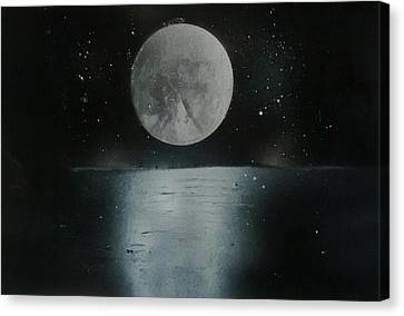 Moon And Its Reflection Canvas Print by Prashant Soni