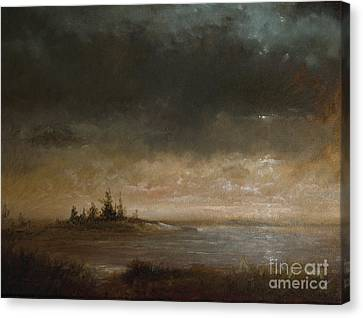 Moon In Maine Canvas Print by Larry Preston