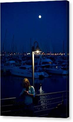 Moon Light Texting Canvas Print by Tom Dowd
