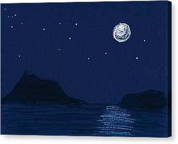 Moon On The Ocean Canvas Print by Hakon Soreide