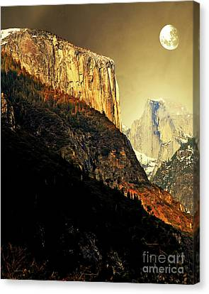 Moon Over Half Dome . Portrait Cut Canvas Print by Wingsdomain Art and Photography