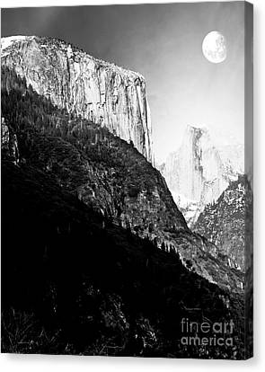Moon Over Half Dome . Black And White Canvas Print by Wingsdomain Art and Photography