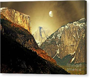 Moon Over Half Dome Canvas Print by Wingsdomain Art and Photography