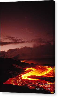 Moon Over Lava At Dawn Canvas Print by Peter French - Printscapes