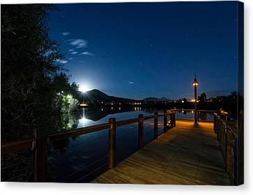 Moon Over North Pond Canvas Print by Michael J Bauer