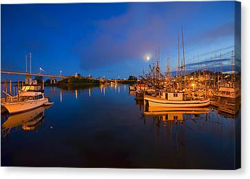 Moon Over Sitka Marina Canvas Print by Mike  Dawson