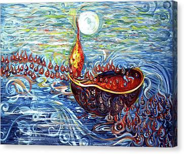 Moon Over The Ocean Canvas Print by Harsh Malik
