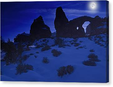 Moon Over Turret Arch Canvas Print by Utah Images