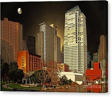 Moon Over Yerba Buena Gardens San Francisco Canvas Print by Wingsdomain Art and Photography