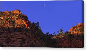 Moon Over Zion Canvas Print by Chad Dutson
