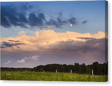 Moon Rise Over Country Fields Sunset Landscape Canvas Print by Christina Rollo