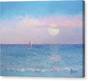 Moon Rise Sailing Canvas Print by Jan Matson