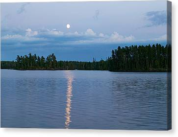 Moon Rising Over Lake One, Water Canvas Print by Panoramic Images
