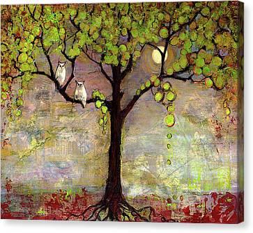 Moon River Tree Owls Art Canvas Print by Blenda Studio