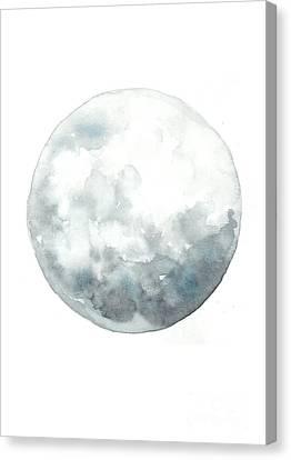 Moon Watercolor Art Print Painting Canvas Print by Joanna Szmerdt