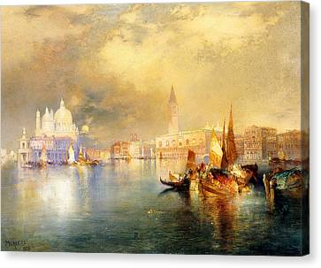 Moonlight In Venice Canvas Print by Thomas Moran