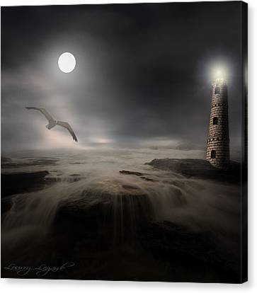 Moonlight Lighthouse Canvas Print by Lourry Legarde