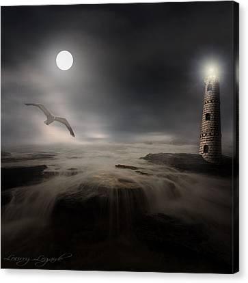 Moonlight Lighthouse Canvas Print by Lourry Legarde