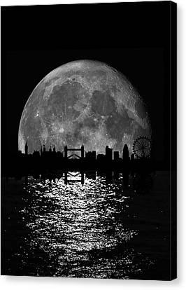 Moonlight London Skyline Canvas Print by Mark Rogan