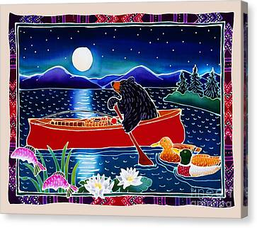 Moonlight On A Red Canoe Canvas Print by Harriet Peck Taylor