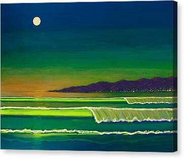 Moonlight Over Venice Beach Canvas Print by Frank Strasser
