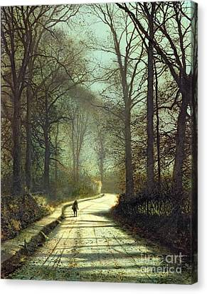 John Atkinson Grimshaw Canvas Print featuring the painting Moonlight Walk by John Atkinson Grimshaw