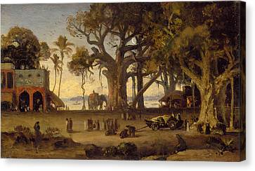 Moonlit Scene Of Indian Figures And Elephants Among Banyan Trees Canvas Print by Johann Zoffany