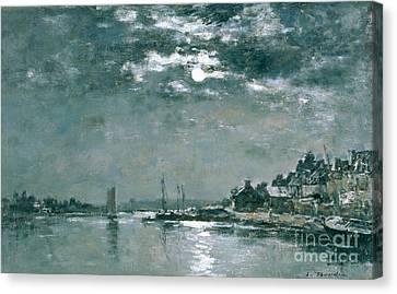 Moonlit Seascape Canvas Print by Eugene Louis Boudin