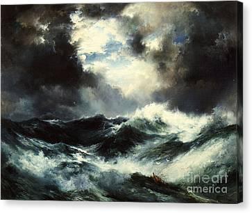Moonlit Shipwreck At Sea Canvas Print by Thomas Moran