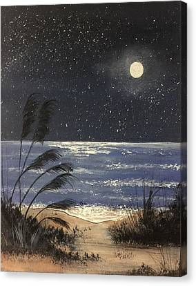 Moonlite Beach Canvas Print by Janet Jackson