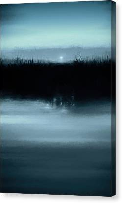 Moonrise On The Water Canvas Print by Scott Norris