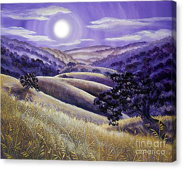 Moonrise Over Monte Bello Canvas Print by Laura Iverson