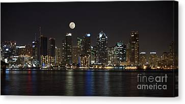 Moonrise Over San Diego Canvas Print by Sandra Bronstein