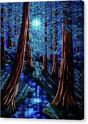 Moonrise Over The Los Altos Redwood Grove Canvas Print by Laura Iverson
