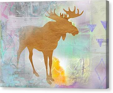 Moose In The Fog  Canvas Print by Claudia Schoen