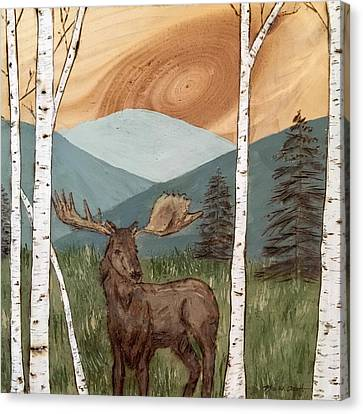 Moose Of The White Birch Forest Canvas Print by Kerri Provost