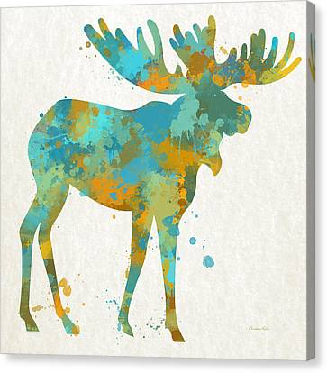 Moose Watercolor Art Canvas Print by Christina Rollo