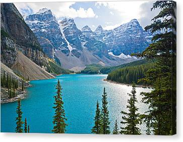 Moraine Lake Canvas Print by Adam Pender
