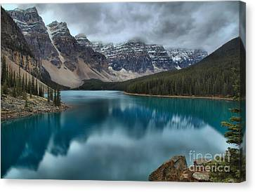 Moraine Lake Emerald Morning Canvas Print by Adam Jewell