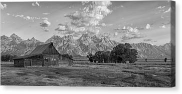 Mormon Row Farm In Black And White Canvas Print by Andres Leon