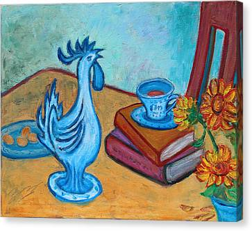 Morning Coffee Rooster Canvas Print by Xueling Zou