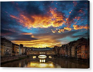 Morning Drama Over Florence Canvas Print by Andrew Soundarajan