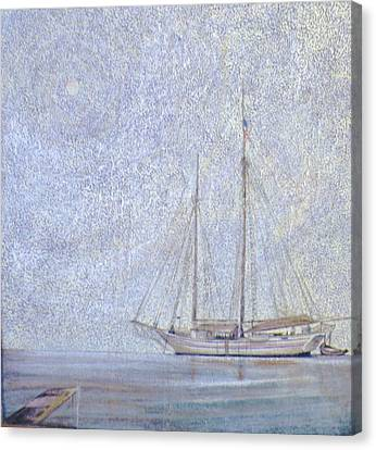 Morning Fog At Wooden Boat Maine Canvas Print by Wendy Hill
