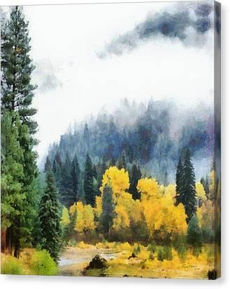 Morning Fog Montana Canvas Print by Russ Harris