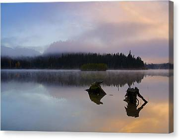 Morning Mist Burning Canvas Print by Mike  Dawson