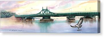 Morning Mist City Island Bridge Canvas Print by Marguerite Chadwick-Juner