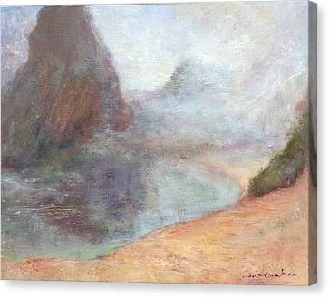 Morning Mist - Original Contemporary Impressionist Painting - Seascape With Fog Canvas Print by Quin Sweetman