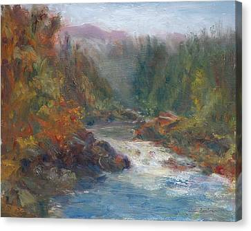 Morning Muse - Original Contemporary Impressionist River Painting Canvas Print by Quin Sweetman